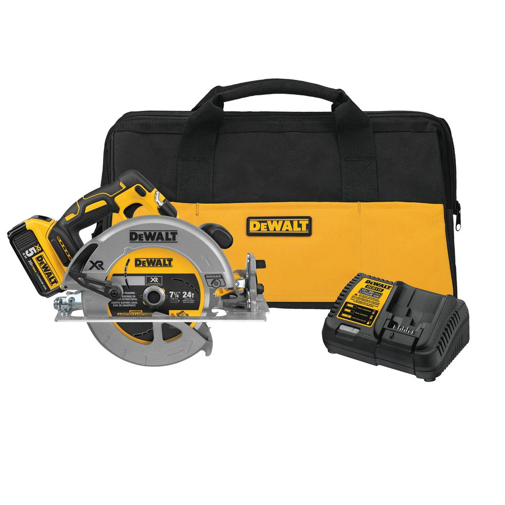 DEWALT 20-Volt MAX XR Lithium-Ion Cordless 7-1/4 in. Circular Saw with Battery 5Ah, Charger and Contractor Bag