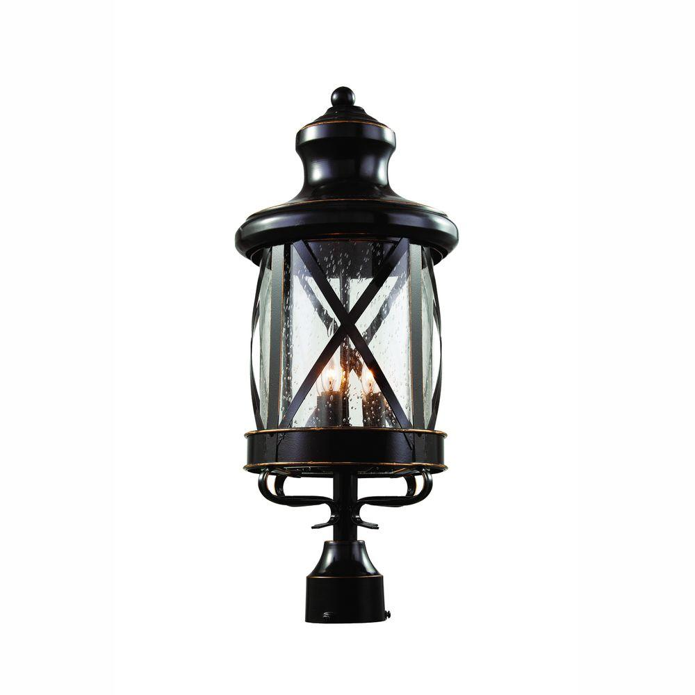 Bel Air Lighting Carriage House 3-Light Outdoor Oiled Rubbed Bronze Post Top Lantern with Seeded Glass