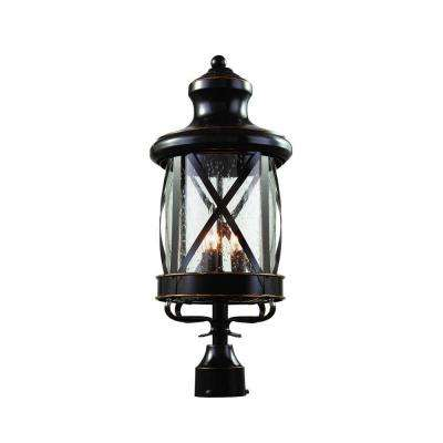 Carriage House 3-Light Outdoor Oiled Rubbed Bronze Post Top Lantern with Seeded Glass