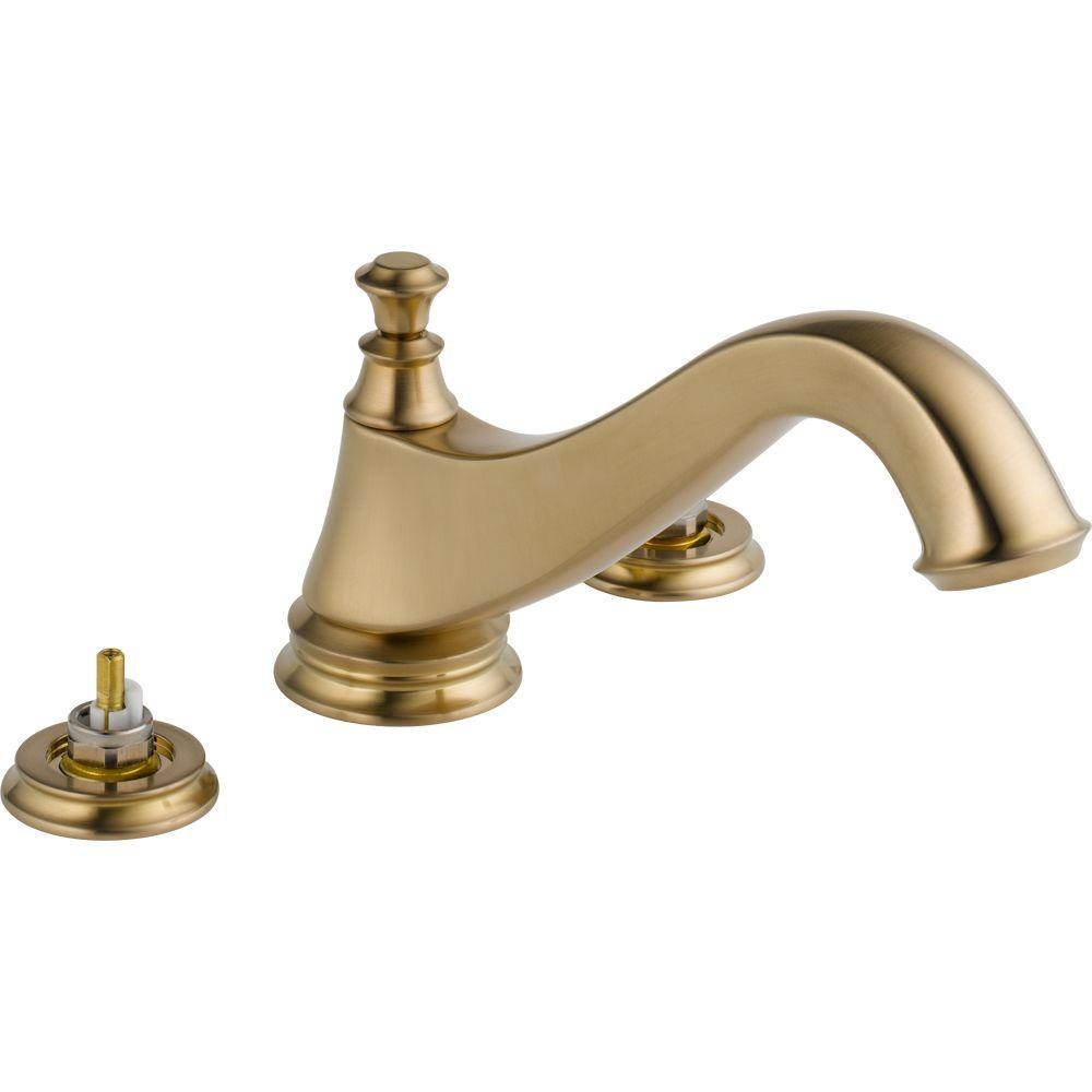 Cassidy 2-Handle Deck-Mount Roman Tub Faucet Trim Kit in Champagne Bronze