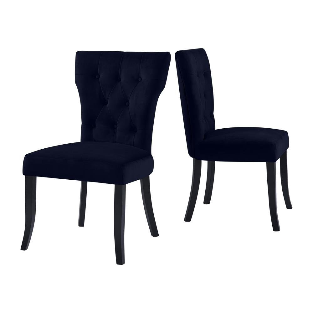 Sirena Upholstered Dining Chairs in Navy Blue Velvet (Set of 2)