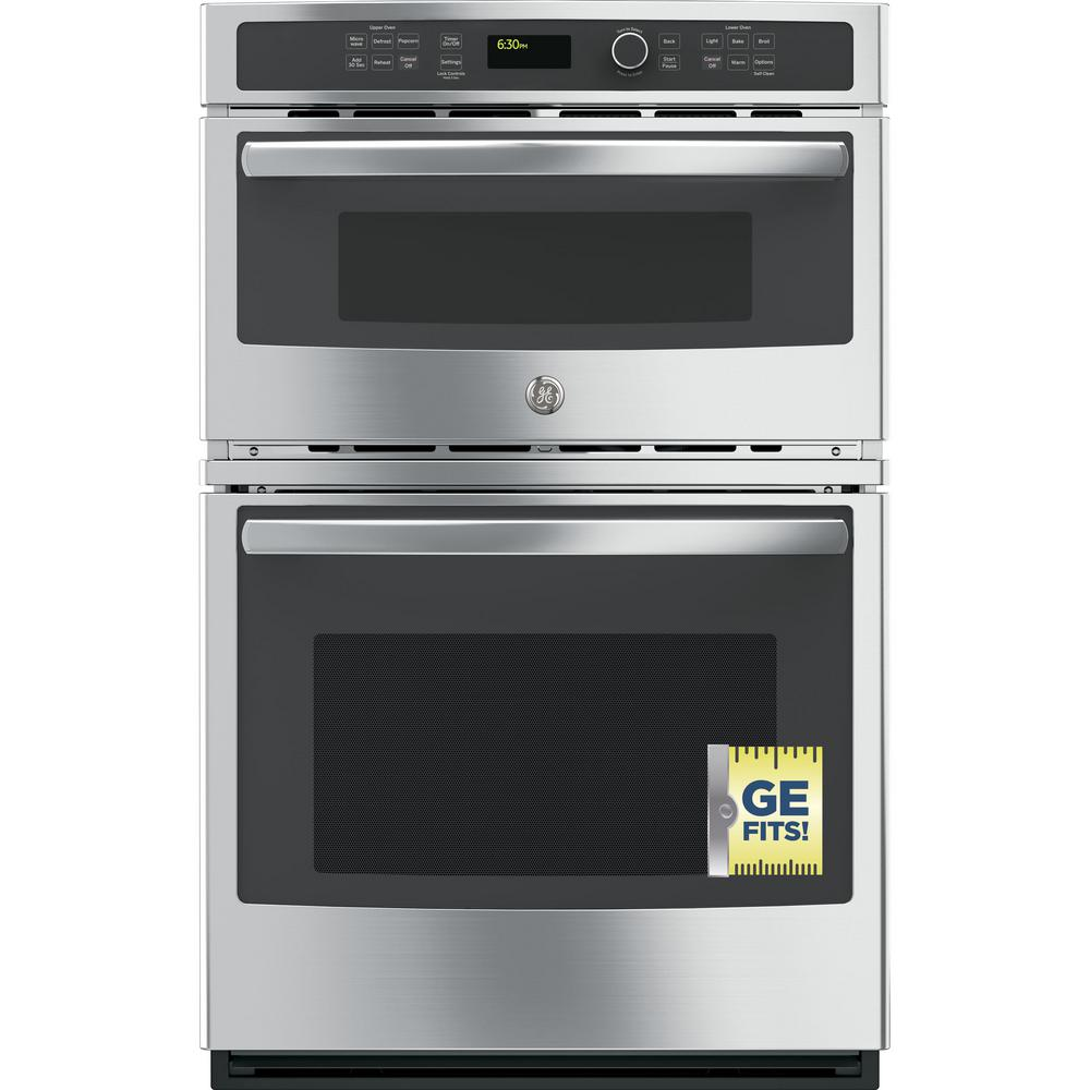 Ge 27 In Electric Wall Oven With Built Microwave Stainless Steel
