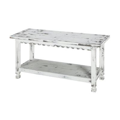 Country Cottage White Antique Bench