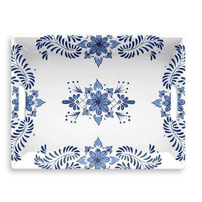 Cobalt Casita Melamine Handled Serve Tray