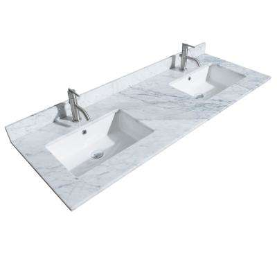 Sheffield 60 in. W x 22 in. D Marble Double Basin Vanity Top in White with White Basin