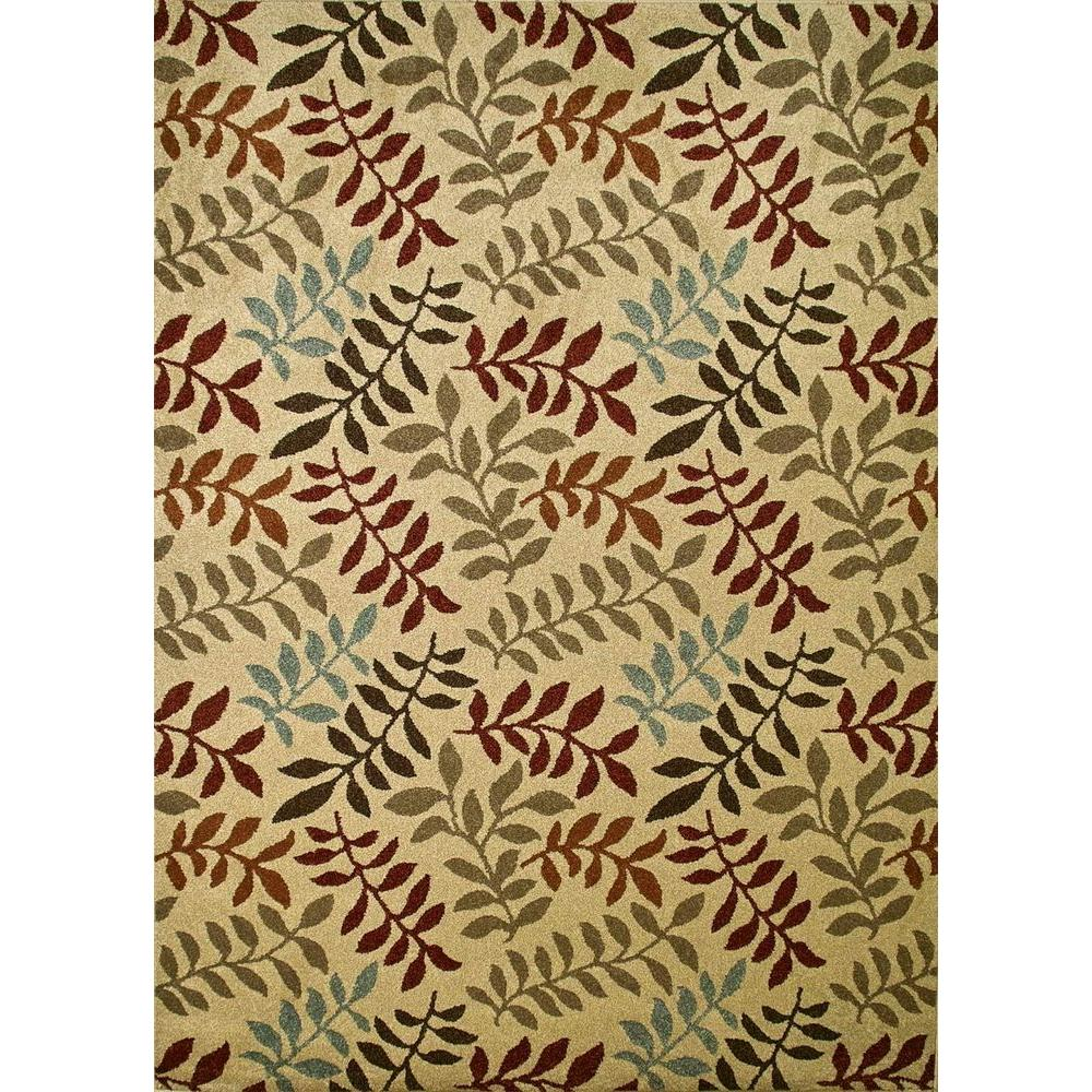 Concord Global Trading Chester Leafs Ivory 3 ft. 3 in. x 4 ft. 7 in. Area Rug