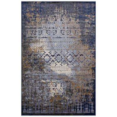 Kalene Distressed Vintage Turkish 5 ft. x 8 ft. Area Rug in Blue, Rust and Cream