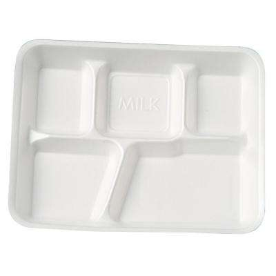 School Tray Foam Serving Trays, Five-Compartment, White