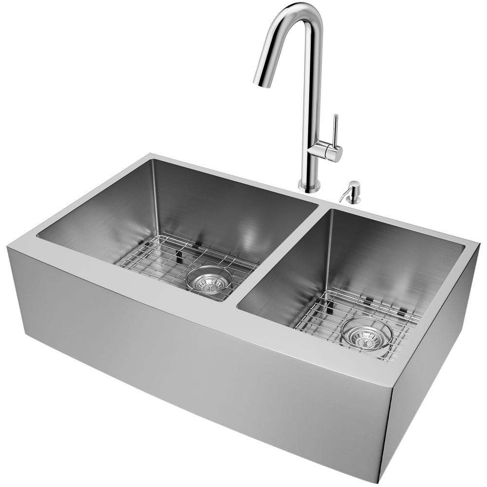 Vigo All In One Stainless Steel 60 40 Double Bowl Undermount Kitchen Sink With Pull Down Faucet In Chrome