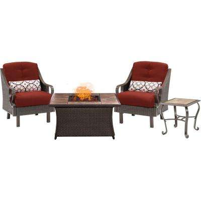Ventura 3-Piece Patio Seating Set with Tile-Top Fire Pit with Crimson Red Cushions