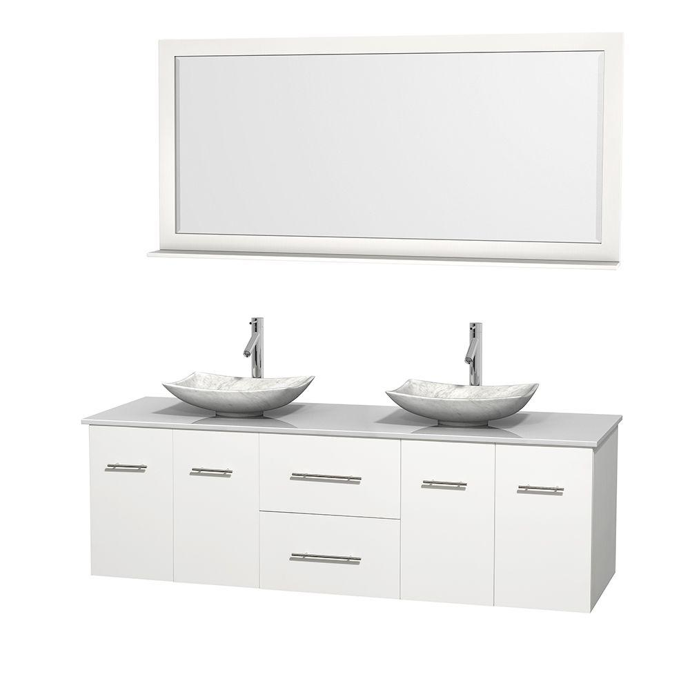 Wyndham Collection Centra 72 in. Double Vanity in White with Solid-Surface Vanity Top in White, Carrara Marble Sinks and 70 in. Mirror