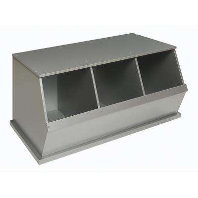 37 in. W x 17 in. H x 19 in. D Silver Stackable 3-Storage Cubbies