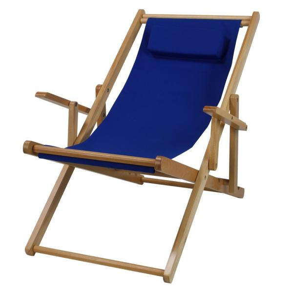 Casual Home Natural Frame And Royal Blue Canvas Solid Wood Sling Chair