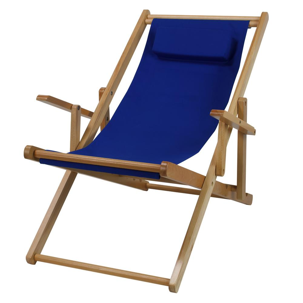 Casual Home Natural Frame and Royal Blue Canvas Solid Wood Sling Chair  sc 1 st  Home Depot & Casual Home Natural Frame and Royal Blue Canvas Solid Wood Sling ...