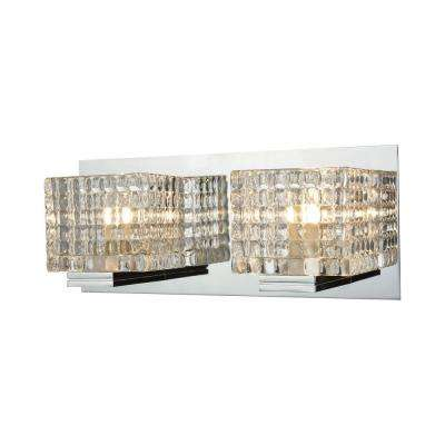 Chastain 2-Light Chrome and Clear Glass Vanity Light
