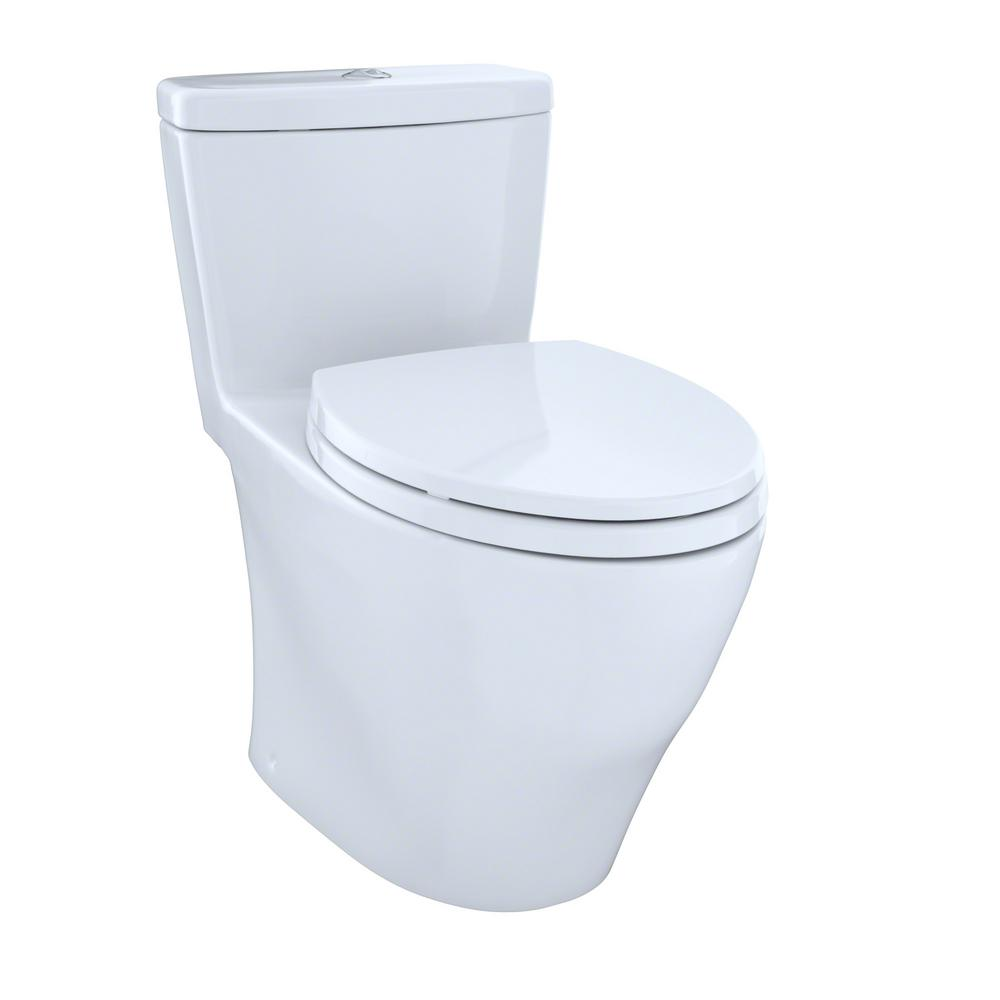 TOTO Aquia 1 Piece Elongated 09 16 GPF Dual Flush Skirted Toilet In Cotton White MS654114MF 01