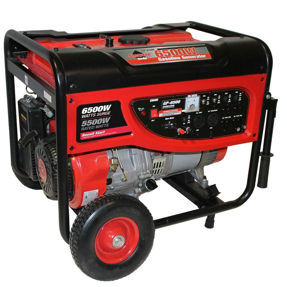 Smarter Tools GP-6500 5,500-Watt Continuous Gasoline Powered Portable Generator
