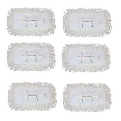 12 in. Dust Mop with 5 in. x 12 in. Tie on Mop Head (6-Pack)