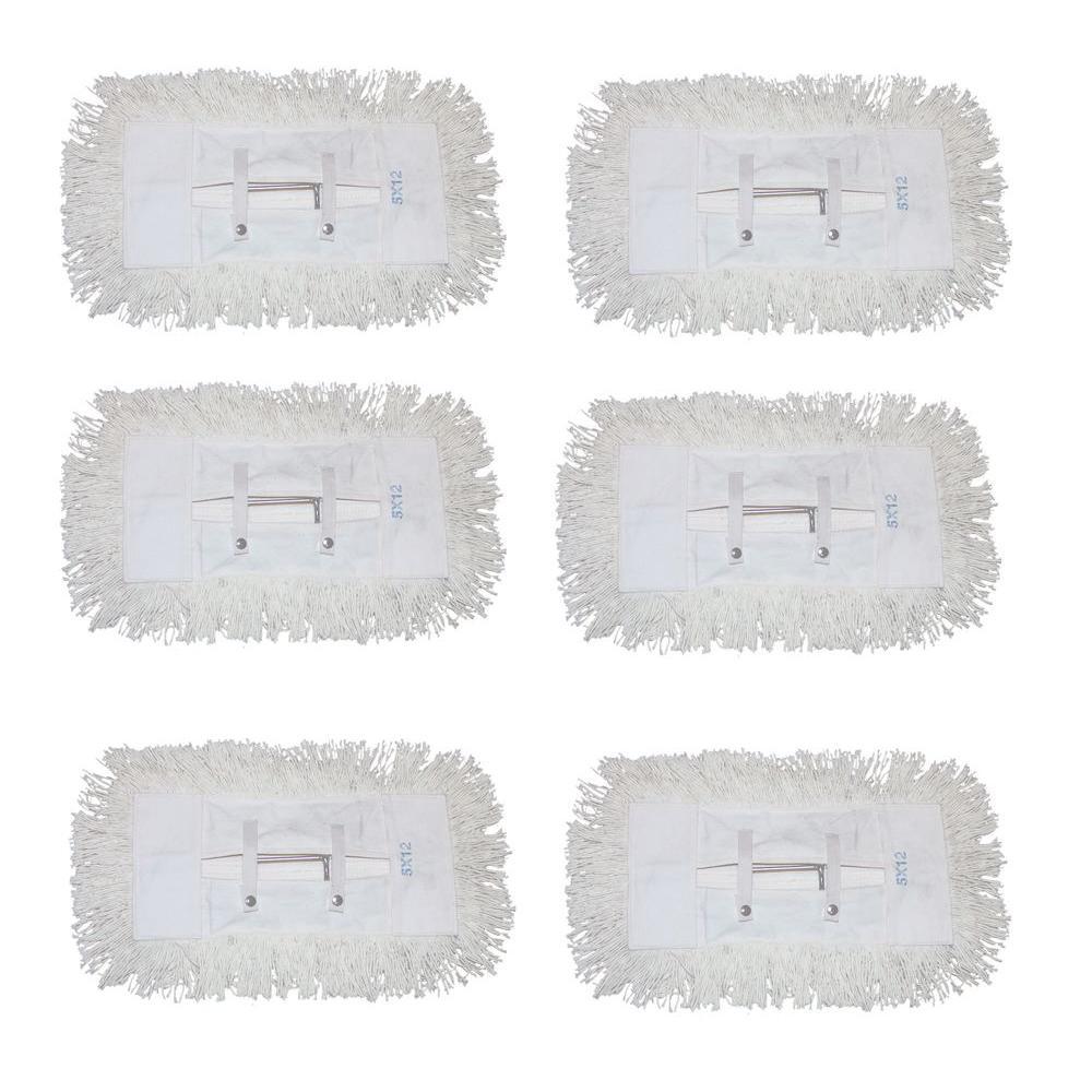 12 in. Dust Mop with 5 in. x 12 in. Tie on Mop Head (6-Pack)