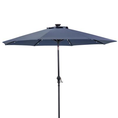 9 ft. Round Solar Lighted Market Patio Umbrella in Navy