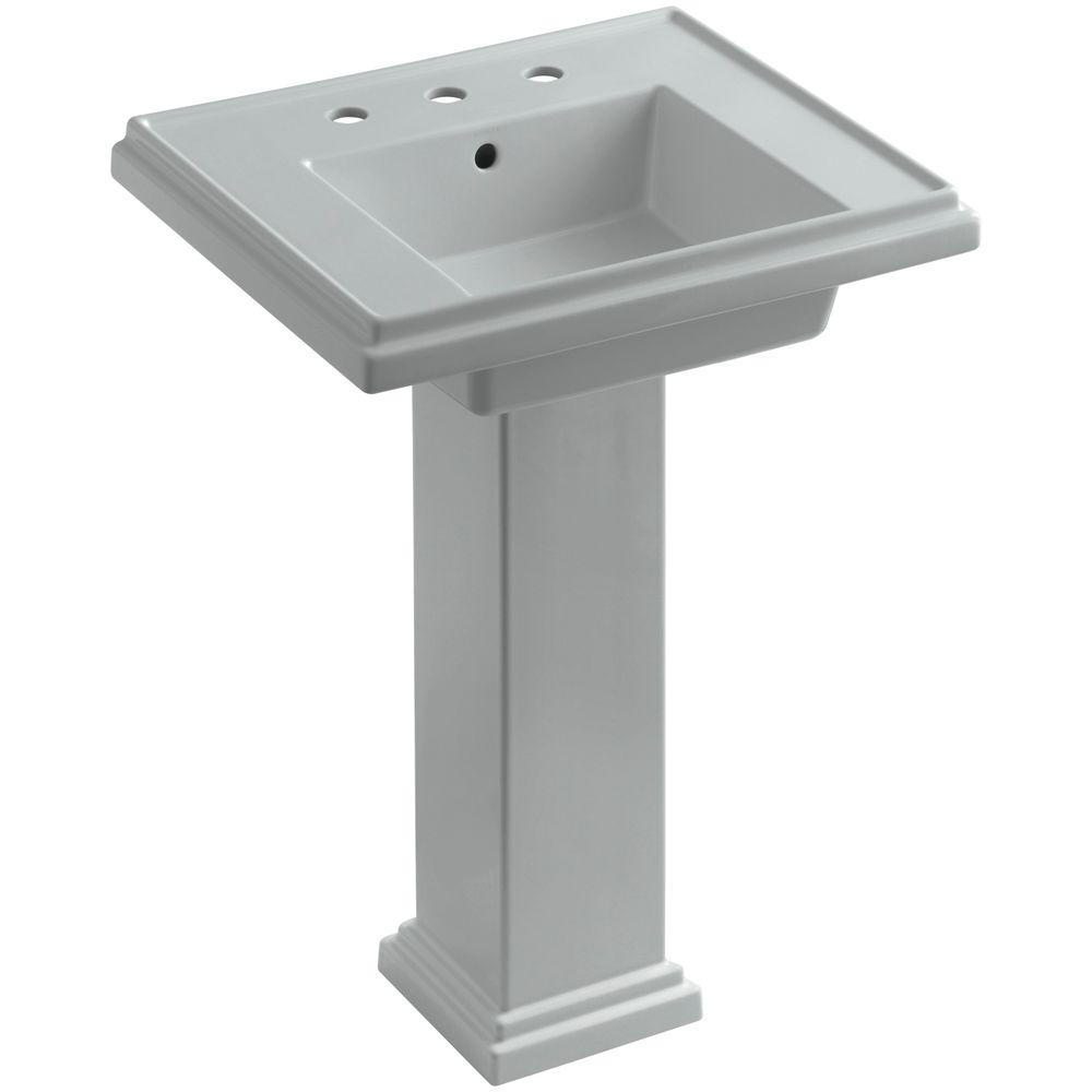 KOHLER Tresham Ceramic Pedestal Combo Bathroom Sink with 8 in. Centers in Ice Grey with Overflow Drain