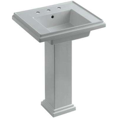 Tresham Ceramic Pedestal Combo Bathroom Sink with 8 in. Centers in Ice Grey with Overflow Drain