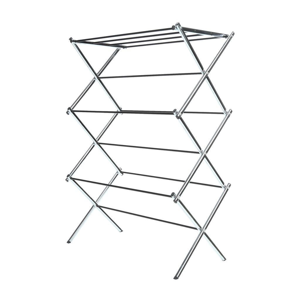 Whitmor Deluxe Rack Collection 29.5 in. x 41.75 in. Chrome Drying Rack, Grey The Whitmor Chrome Foldable Drying Rack extends to a full 25 ft. of drying space to accommodate a variety of clothing sizes and types. Its vinyl-coated steel hanging bars are durable and water-resistant with a beautiful chrome finish, offering sturdy support for garments. Perfect for the laundry room, garage or bathroom, it easily folds away to save space when not in use.