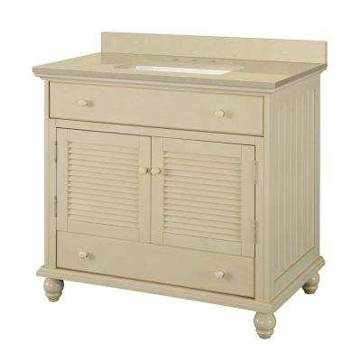 Cottage 37 in. W x 22 in. D Vanity in Antique White with Engineered Marble Vanity Top in Crema Limestone with Basin