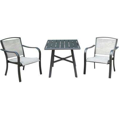 Foxhill 3-Piece Commercial Aluminum Outdoor Bistro Set with 2-Sunbrella Sling Dining Chairs and a 30 in. Slat-Top Table