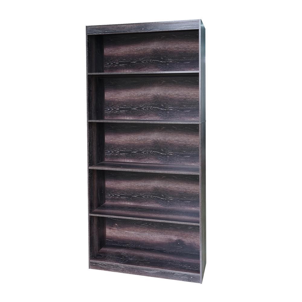 Smoke Sturdy Standard 5-Shelf Bookcase