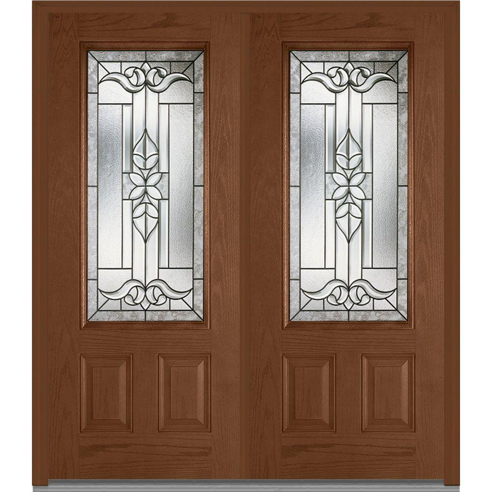 Mmi Door 74 In X In Cadence Decorative Glass 3 4 Lite Finished Fiberglass Oak Exterior