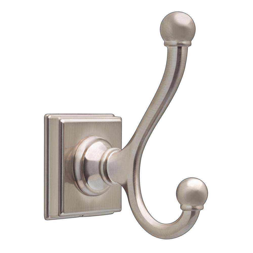 Teague Double Towel Hook in SpotShield Brushed Nickel