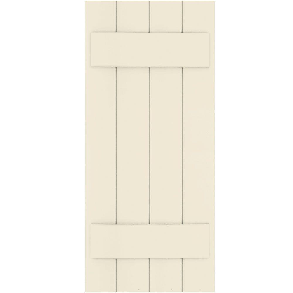 Winworks Wood Composite 15 in. x 35 in. Board & Batten Shutters Pair #651 Primed/Paintable