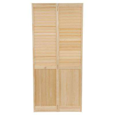 36 in. x 80 in. 36 in. Plantation Louvered Solid Core Unfinished-Panel Wood Interior Closet Bi-Fold Door