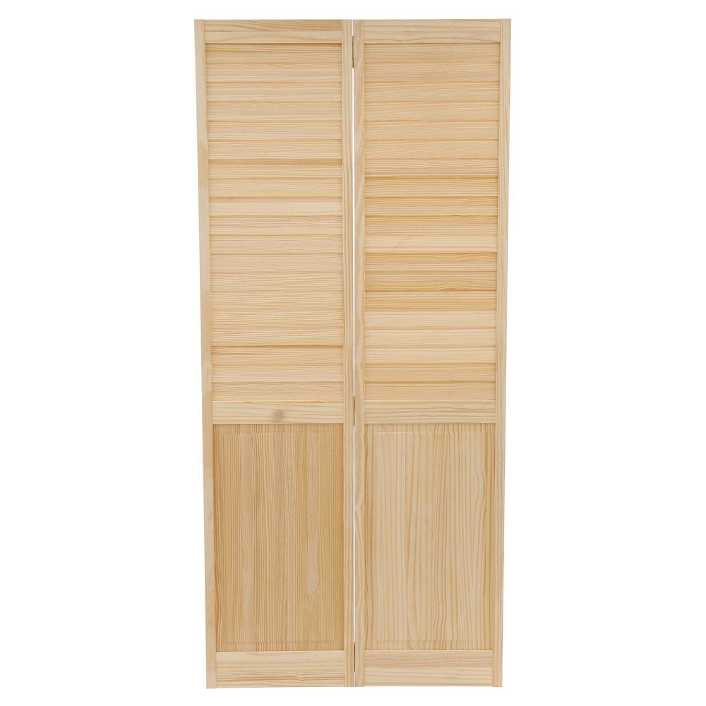 Plantation Louvered Solid Core Unfinished Panel Wood Interior Closet Bi Fold Door