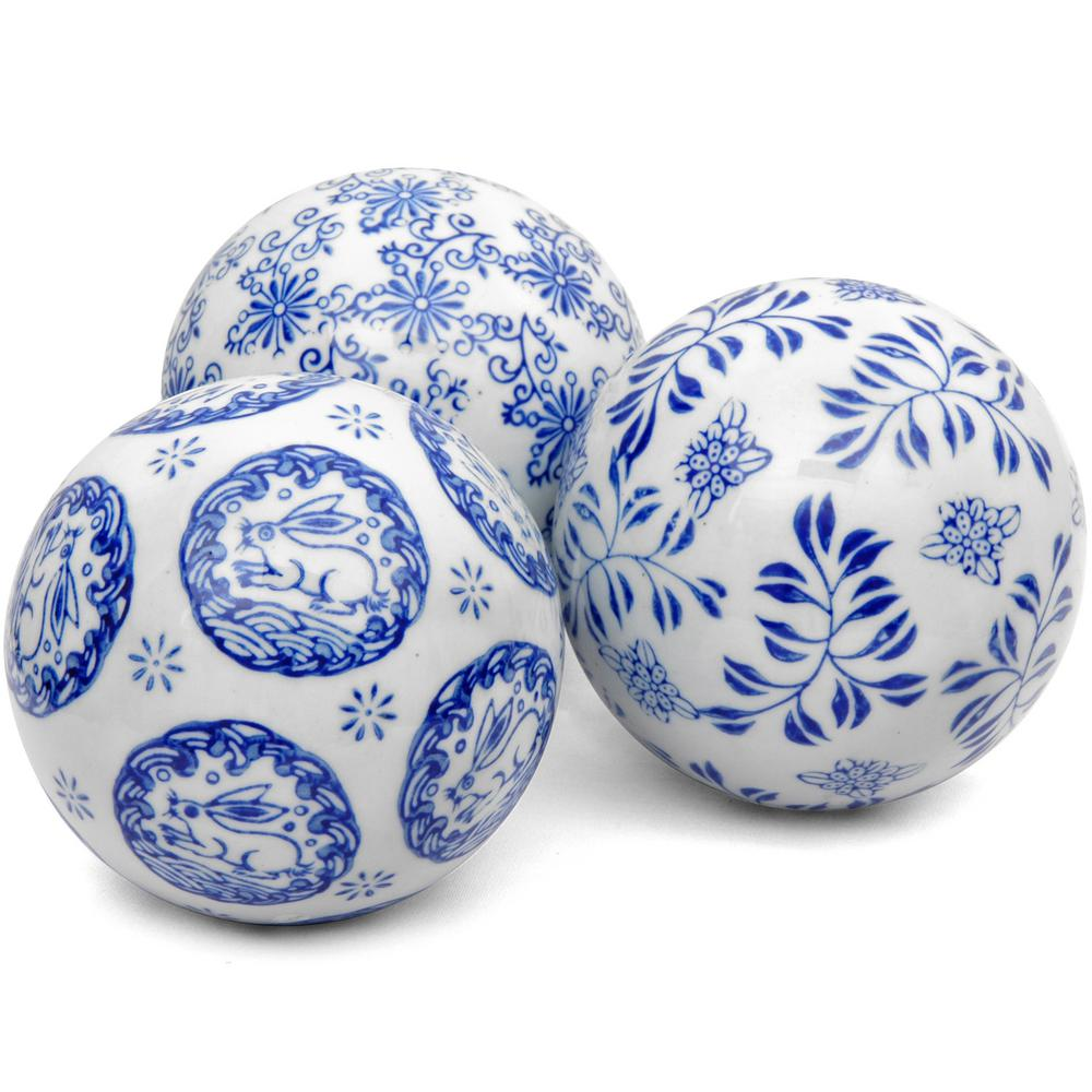 Oriental Furniture 4 in. Blue and White Decorative Porcelain Ball Set