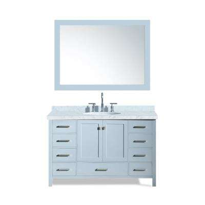 Cambridge 55 in. Bath Vanity in Grey with Marble Vanity Top in Carrara White with White Basin and Mirror