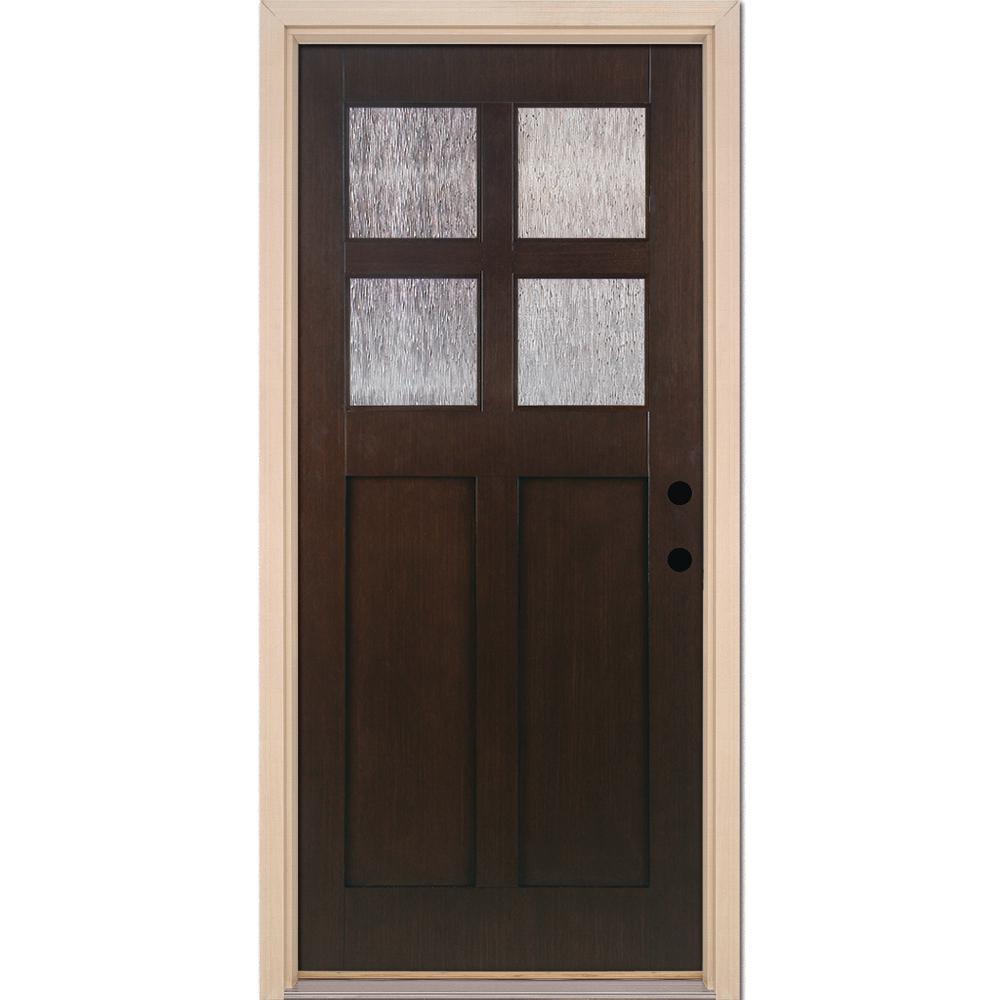 37.5 in. x 81.625 in. 4-Lite Cord Craftsman Stained Cocoa Teak Left-Hand Inswing Fiberglass Prehung Front Door