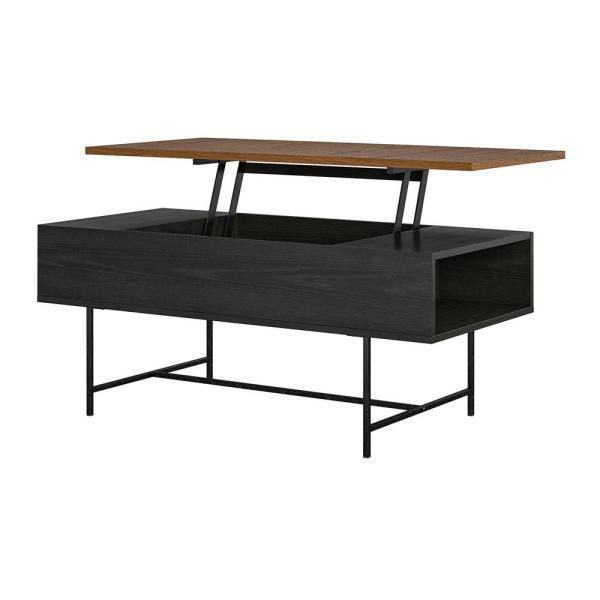 Ameriwood Home Apison 42 In Black Oak Large Rectangle Wood Coffee Table With Lift Top Hd98043 The Home Depot