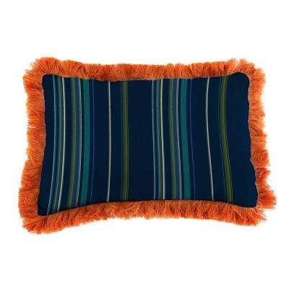 Sunbrella 9 in. x 22 in. Stanton Lagoon Lumbar Outdoor Pillow with Tuscan Fringe