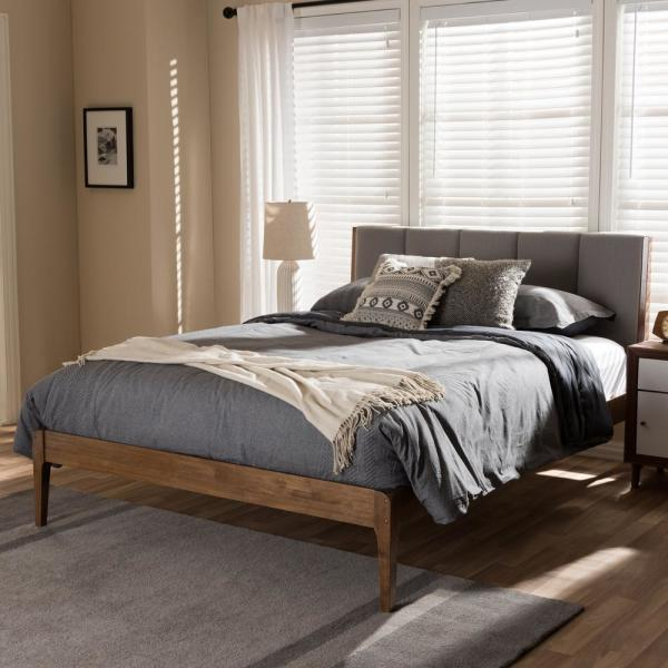 Ember Mid-Century Gray Fabric Upholstered Queen Size Bed