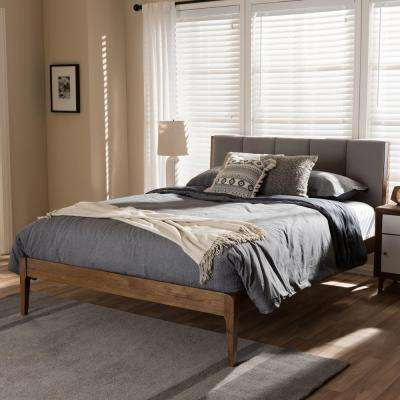 Ember Mid-Century Gray Fabric Upholstered King Size Bed