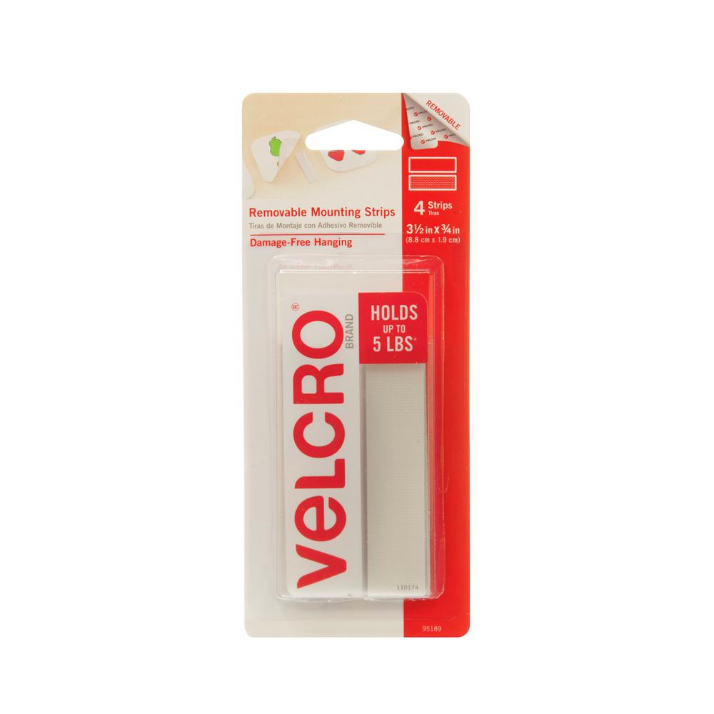 VELCRO Brand 3-1/2in x 3/4in  Removable Mounting Strips (4-Count)
