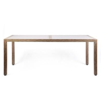 Sienna Teak Acacia Wood Outdoor Patio Dining Table with Gray Center Stone