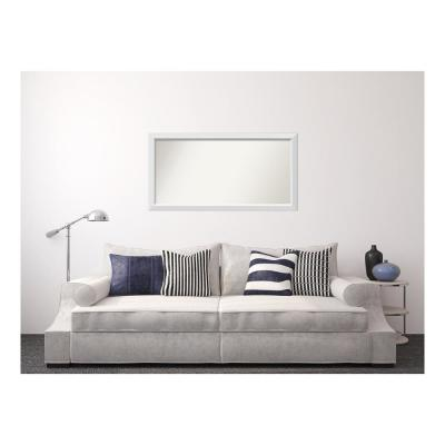 Medium Rectangle White Modern Mirror (27 in. H x 52 in. W)