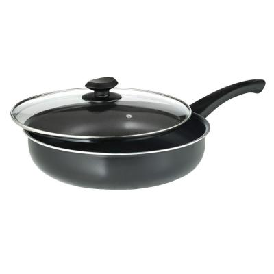 Elements 11.2 in. Aluminum Nonstick Frying Pan in Slate with Glass Lid