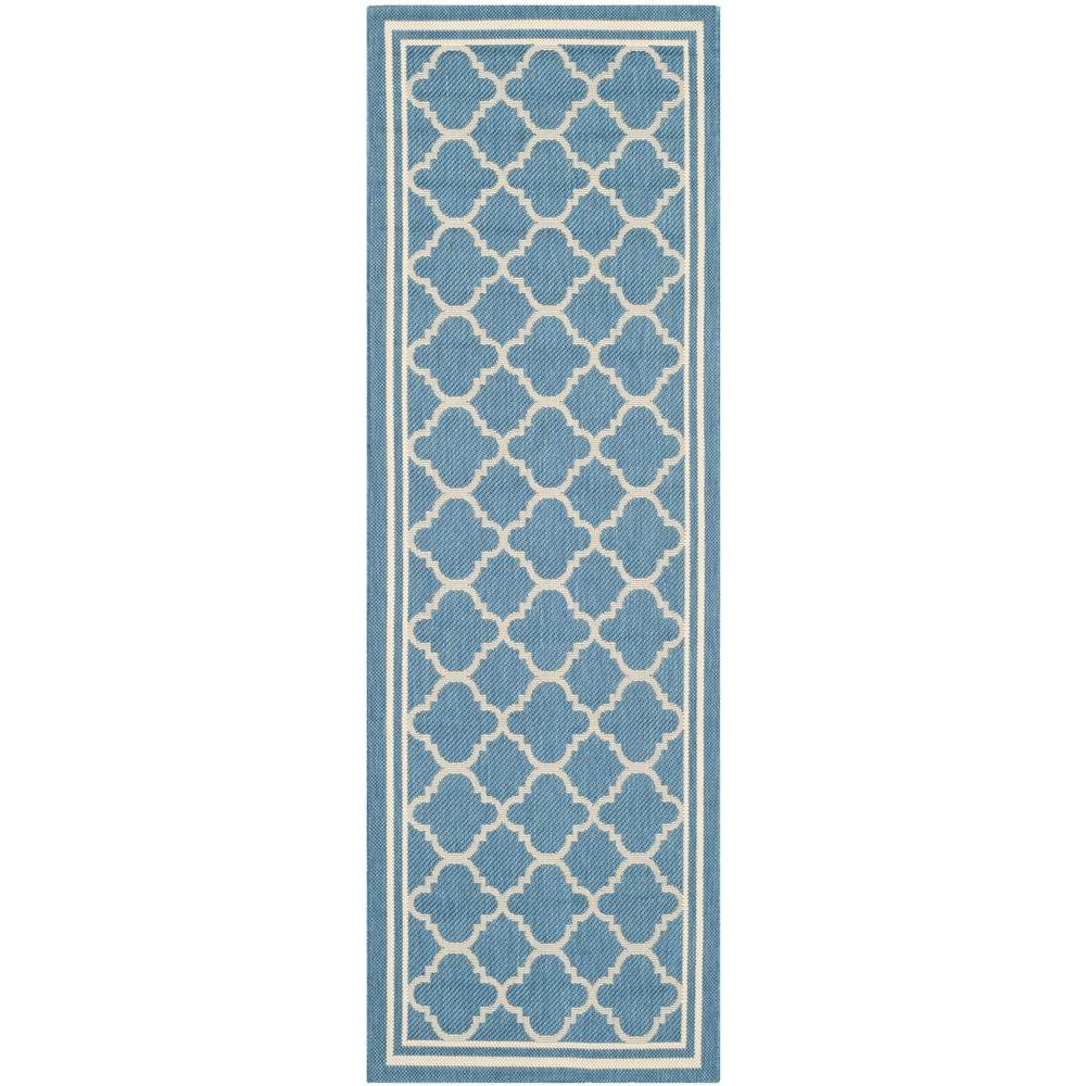 Safavieh Courtyard Blue/Beige 2 ft. 3 in. x 8 ft. Indoor/Outdoor Runner