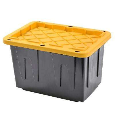Heavy Duty - 23 Gal. Tote Black Bottom and Yellow Snap Lid (4-Pack)