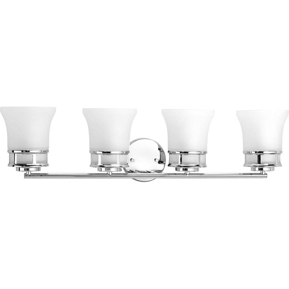 Cascadia Collection 4-Light Polished Chrome Vanity Light with Etched Glass