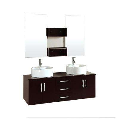 Cerviel 59 in. Double Vanity in Espresso with Ceramic Vanity Top in Espresso and Mirror